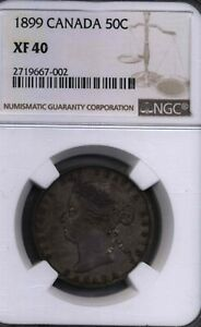 CANADA CANADIAN QUEEN VICTORIA NGC 40 1899 HALF DOLLAR 50 CENTS 80  SILVER COIN