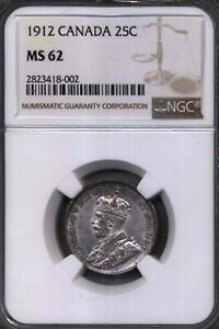 Click now to see the BUY IT NOW Price! 1912 CANADA 25 CENTS NGC 62 80   SILVER CURRENCY  COIN