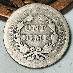 1857 SEATED LIBERTY DIME 10C W/ STARS UNGRADED WORN DATE US SILVER COIN CC3209