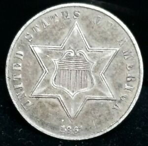 1861 SILVER 3 CENTS ROTATED 180 DEGREES ERROR COIN