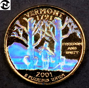 1  2001 VERMONT STATE QUARTER // 24K GOLD PLATED   HOLOGRAM  // 1 COIN