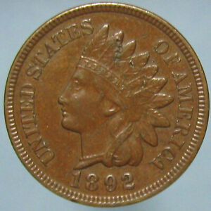 Click now to see the BUY IT NOW Price! BROWN AU 1892 INDIAN HEAD CENT WITH SOME MARKS   BUDGET PRICED