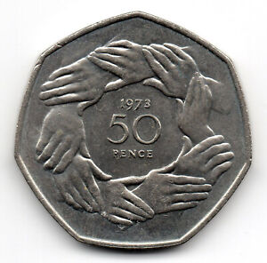Click now to see the BUY IT NOW Price! 1973 LARGE 50P COIN COMMEMORATIVE FIFTY PENCE EUROPE HELPING HANDS A2