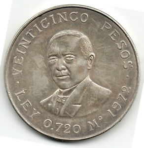 Click now to see the BUY IT NOW Price! 1972 MEXICO 25 VEINTICINCO PESOS LARGE SILVER COIN BENITO JUAREZ LEY 0.720 M A2