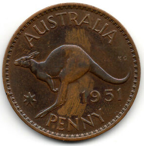 Click now to see the BUY IT NOW Price! 1951 AUSTRALIA COMMONWEALTH OF ONE PENNY COIN KANGAROO   GEORGE VI B3