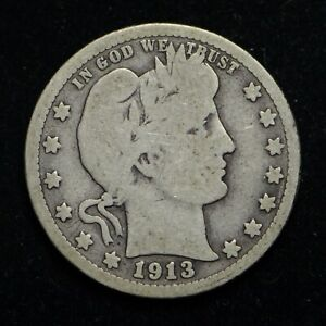 1913 BARBER SILVER QUARTER  BB5700