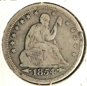 1854 ARROWS LIBERTY SEATED SILVER QUARTER VG F CONDITION