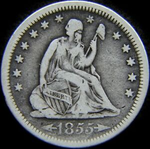1855 SEATED LIBERTY QUARTER 25C | SILVER   VERY GOOD     594