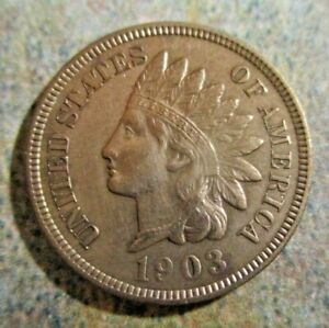 LONGTIME COLLECTION SALE 1903 INDIAN CENT UNCIRCULATED FULL LIBERTY/4 DIAMONDS