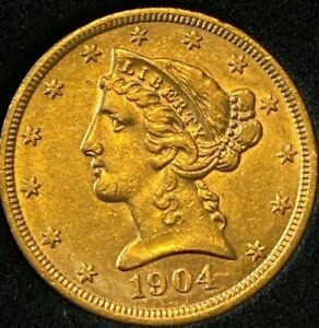 LY  1904  $5 U.S. LIBERTY HEAD GOLD COIN REEDED EDGE 90  GOLD8.36 GM