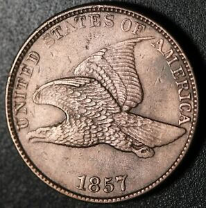 1857 FLYING EAGLE CENT   NEAR AU UNC