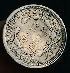 1854 SEATED LIBERTY HALF DIME 5C ARROWS ROTATED DIES GOOD US SILVER COIN CC3295