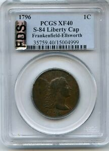 Click now to see the BUY IT NOW Price! 1796 LIBERTY CAP LARGE CENT PCGS XF40 S 84 US COPPER COIN   JJ513