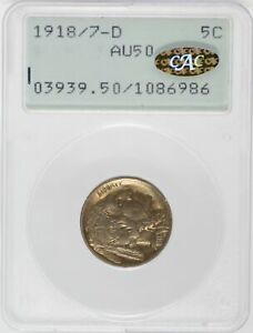 Click now to see the BUY IT NOW Price! 1918/7 D INDIAN HEAD BUFFALO NICKEL PCGS AU50 CAC 5C COIN RATTLER   JJ530