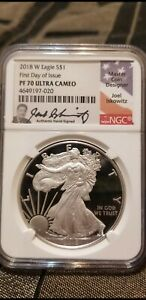 2018 $1 SILVER EAGLE NGC PF70UCAM FIRST DAY OF ISSUE JOEL ISKOWITZ SIGNED LABEL