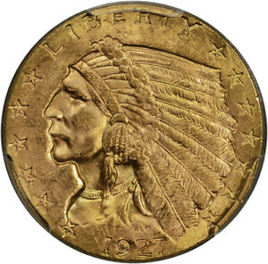 RETAINED CUD ERROR 1927 GOLD $2.50 QUARTER EAGLE PCGS MS65   TOUGHCOINS