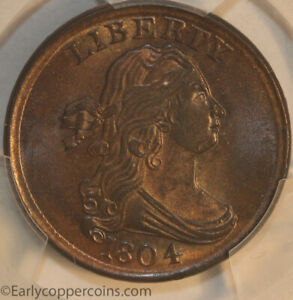 WOW 1804 C13 R1 DRAPED BUST HALF CENT PCGS MS63BN CAC DOUBLE STRUCK FURNACE RUN