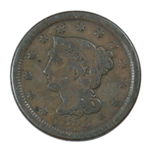 1853 BRAIDED HAIR LARGE CENT GOOD CONDITION