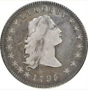 1795 FLOWING HAIR DOLLAR B 5 BB 27 THREE LEAF VARIETY NGC VF25