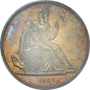 Click now to see the BUY IT NOW Price! 1836 GOBRECHT SILVER DOLLAR ORIGINAL | PCGS PROOF 62 CAC  TONED