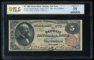 Click now to see the BUY IT NOW Price! 1882 $5 BROWN BACK   DEPOSIT NEW YORK PCGS35 VF  SERIAL 1