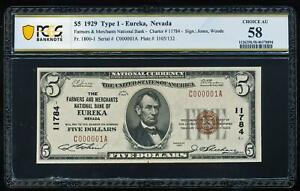 Click now to see the BUY IT NOW Price! 1929 $5 EUREKA NEVADA NATIONAL PCGS58 AU CH11784 SERIAL NUMBER 1
