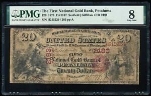 Click now to see the BUY IT NOW Price! 1875 $20 NATIONAL GOLD BANK NOTE   PETALUMA PMG8 VG CH2193