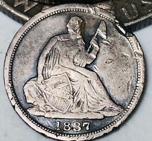 1837 SEATED LIBERTY HALF DIME 5C SMALL DATE NO STARS 90  SILVER US COIN CC3707