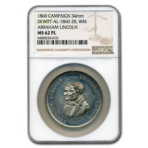 Click now to see the BUY IT NOW Price! 1860 LINCOLN CAMPAIGN MEDAL MS 62 NGC  PL    SKU227065