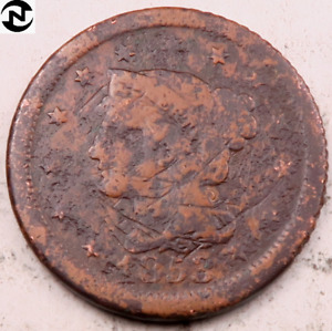 1853 BRAIDED HAIR LARGE CENT // FINE  DETAILS  //  LC450