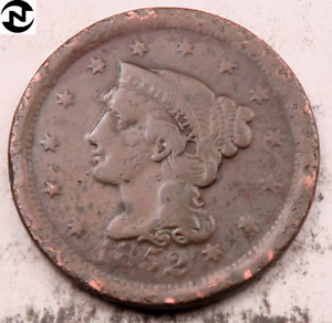 1852 BRAIDED HAIR LARGE CENT // VF  DETAILS  //  LC448
