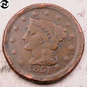 1851 BRAIDED HAIR LARGE CENT // VF  DETAILS  //  LC444