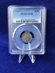 1865 THREE CENT PIECE 3C NICKEL  PCGS AU58 CHOICE ABOUT UNCIRCULATED