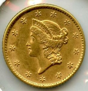 1853 LIBERTY HEAD EARLY GOLD DOLLAR $1 COIN TYPE 1 BL511