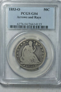 1853 O 50C ARROWS AND RAYS LIBERTY SEATED HALF DOLLAR PCGS G4