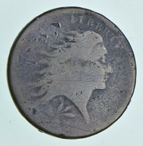 1793 FLOWING HAIR LARGE CENT   WREATH REVERSE  4982