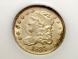 MOSTLY WHITE 1834 ALMOST GEM CAPPED BUST HALF DIME   LITTLE TONING.