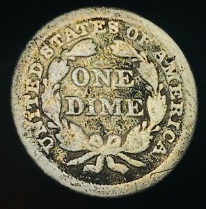 1849 SEATED LIBERTY DIME 10C W/ STARS UNGRADED GOOD DATE US SILVER COIN CC4771