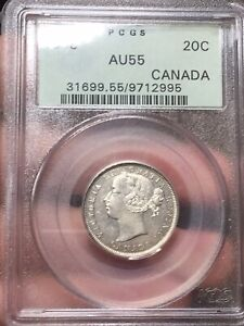 Click now to see the BUY IT NOW Price!  1858 CANADA 20 CENTS | PCGS AU55 | REVISED 5 VARIETY | $900  TREND