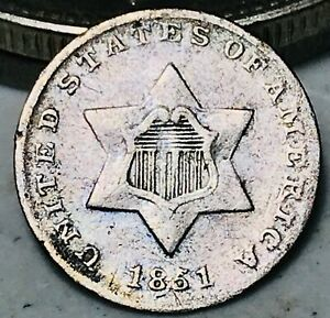 1851 THREE CENT SILVER PIECE TRIME 3C TYPE 1 HIGH GRADE DETAILS US COIN CC4894