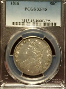 1818 CAPPED BUST HALF DOLLAR PCGS XF 45 NICE PIECE