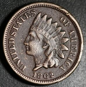 1862 INDIAN HEAD CENT   WITH LIBERTY   VF FINE DETAILS