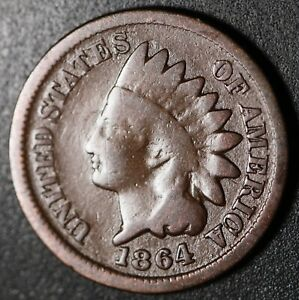 1864 INDIAN HEAD CENT   BRONZE   GOOD