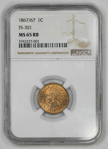 Click now to see the BUY IT NOW Price! 1867/67 INDIAN HEAD CENT 1C FS 301 NGC MS 65 RB MINT UNC   LOTS OF RED  003