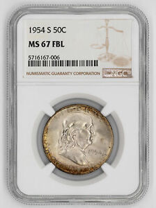 Click now to see the BUY IT NOW Price! 1954 S FRANKLIN HALF DOLLAR 50C NGC CERTIFIED MS 67 FBL UNC FULL BELL LINES  006