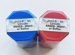 Click now to see the BUY IT NOW Price! 2010 P&D SET OF A. LINCOLN PRESIDENTIAL DOLLARS SEALED ROLLS OF 20 ANACS MS63