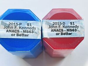 Click now to see the BUY IT NOW Price! 2015 P&D SET OF JOHN KENNEDY PRESIDENTIAL DOLLARS SEALED ROLLS OF 20 ANACS MS63