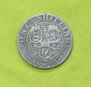 1895  SILVER ONE SHILLING COIN  QUEEN VICTORIA  1837 01    COMBINE POSTAGE