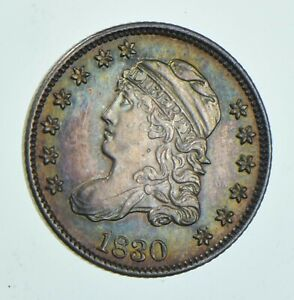 1830 CAPPED BUST HALF DIME   LM 8 PL?   RAINBOW TONE  6014