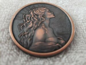 BEAUTIFUL LADY JUSTICE TOKEN WITH FLOWING HAIR COPPER/BRONZE A PRIZE